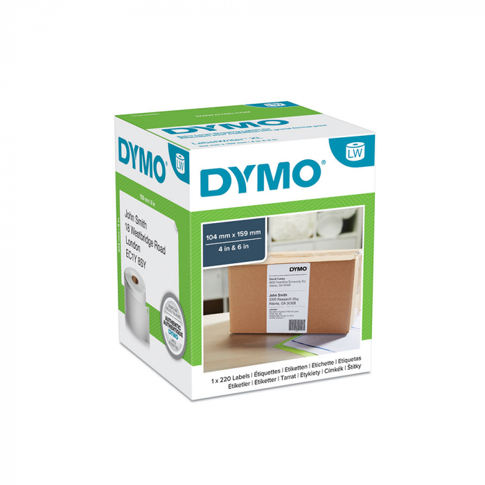 DYMO LabelWriter, Transport/logistic, only for LW 4XL, permanent, 104mmx59mm, paper white, 1 roll/box, 220 labels/roll, 904980 S0904980 S0947420-big