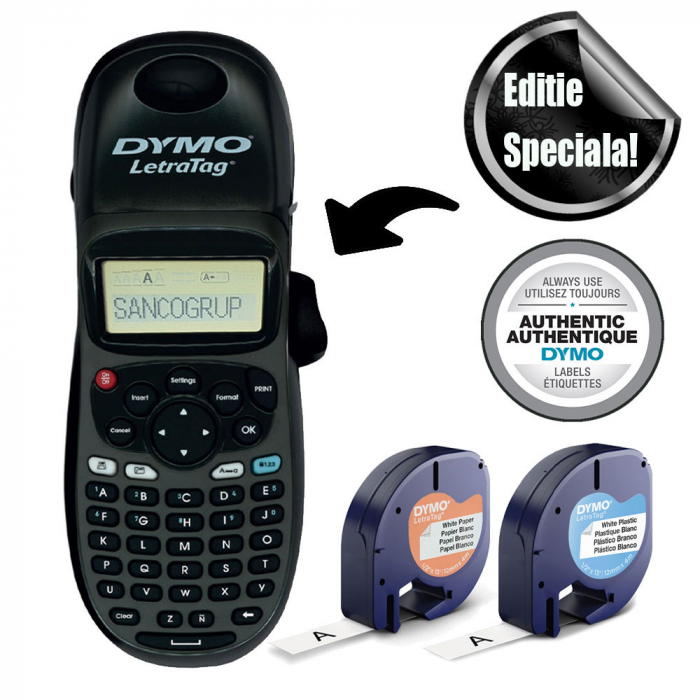 Aparat de etichetat Dymo LetraTag 100H Black Edition, ABC, etichete plastic autocolante si o banda hartie-big