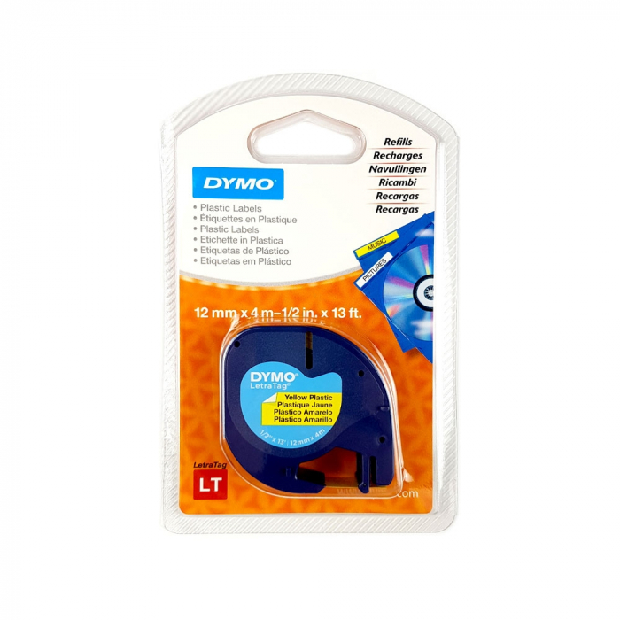 Set EtichetatorDymo LetraTagLT-100H Plus Albastru, ABC, etichete plastic autocolante galbene DYMO LetraTag si o banda hartie alba-big