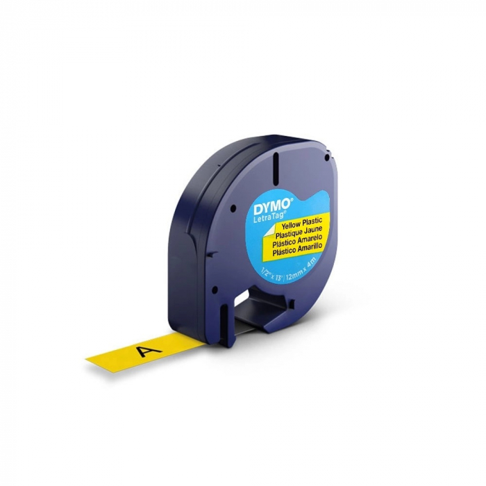 Set EtichetatorDymo LetraTagLT-100H Plus Black Edition, ABC si 3 benzi originale Dymo, rosu, galben si albastru-big