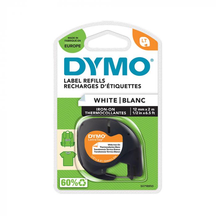Etichete haine Dymo LetraTag, Iron-On 12mmx2m, albe, 18769 S0718850 S0718840 DY18768-big