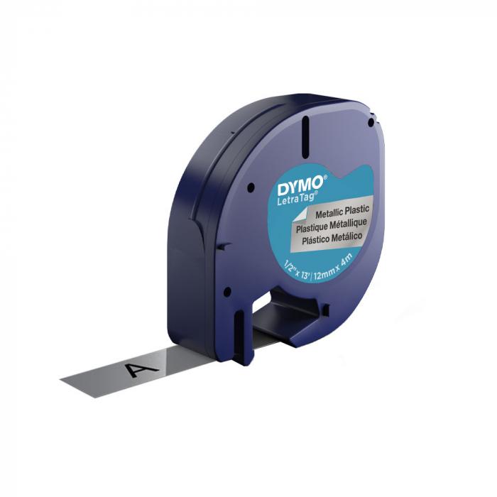 Etichete plastic autocolante DYMO LetraTag, 12mmx4m, argintiu metalic, 91208 S0721730 S0721750 DY91228-big