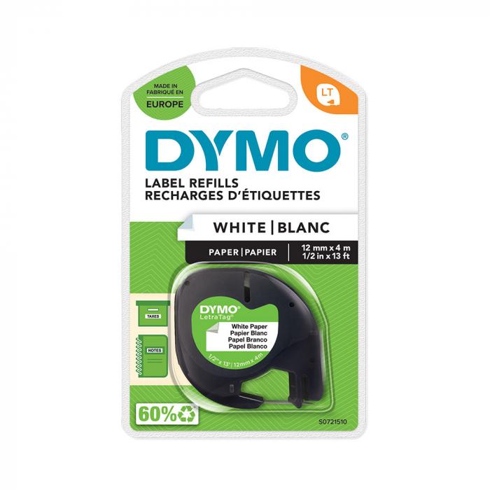 Etichete hartie autocolante, DYMO LetraTag, 12mmx4m, albe, 91200, S0721510, S0721500, S0721520-big