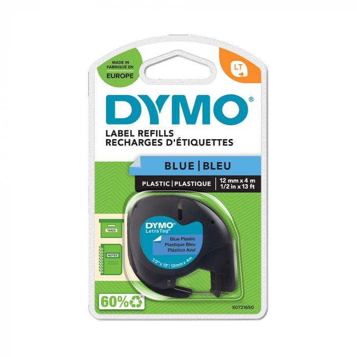 Etichete plastic autocolante DYMO LetraTag, 12mmx4m, albastre, S0721650 S0721700 DY91225-big