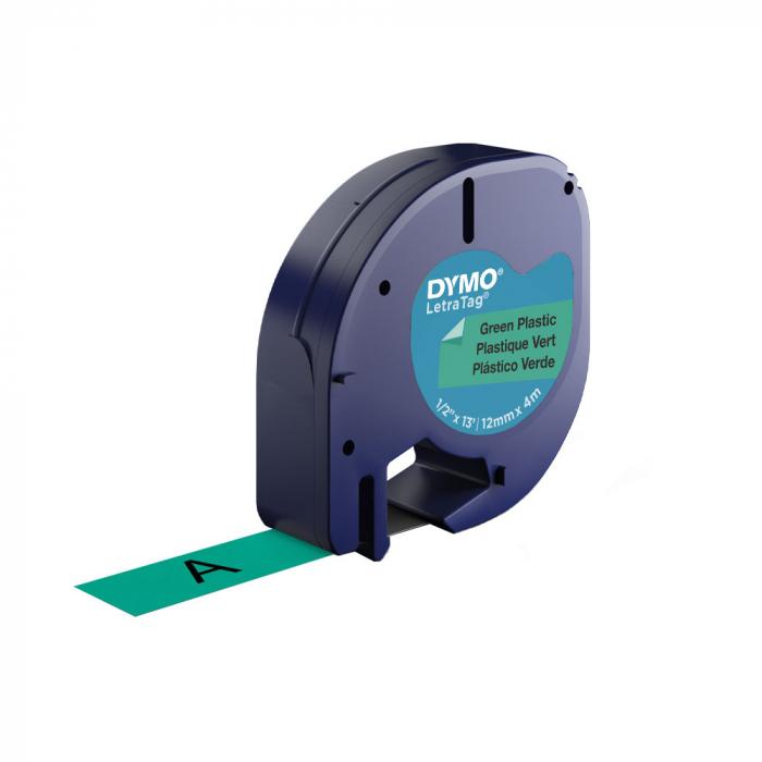 Etichete plastic autocolante DYMO LetraTag, 12mmx4m, verzi, S0721640 S0721690 91204-big