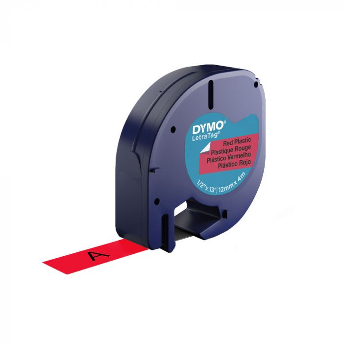 Etichete plastic autocolante DYMO LetraTag, 12mmx4m, rosii, S0721630 S0721680 91203-big