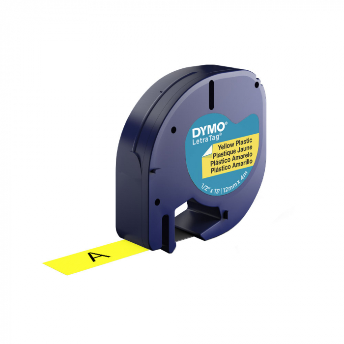 Etichete plastic autocolante DYMO LetraTag, 12mmx4m, galbene, S0721620, S0721670, 91202, S0721570-big