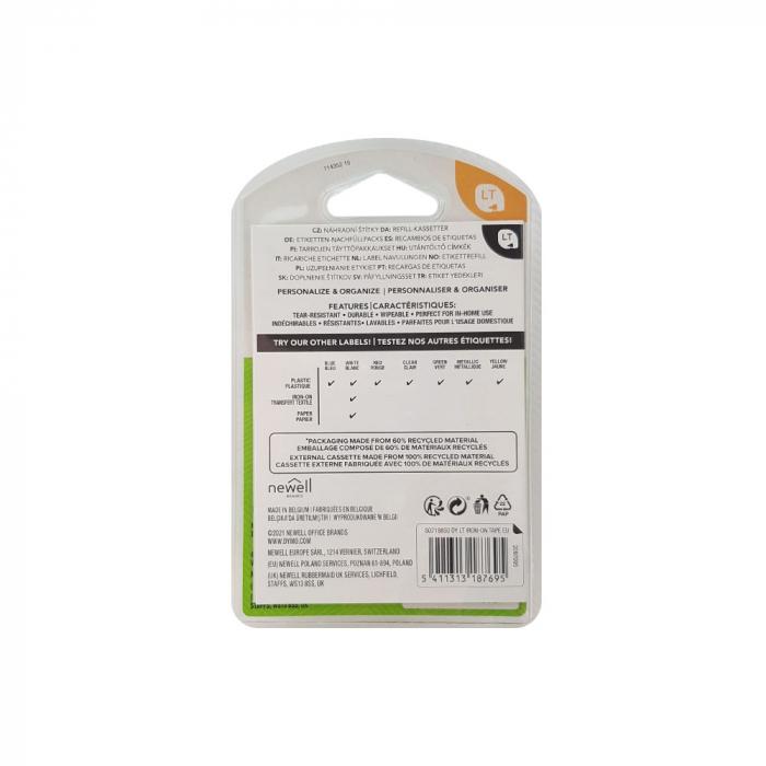 Etichete originale DYMO LetraTag plastic autocolant alb, 12mm x 4m, negru/alb, blister, fabricate in Belgia, S0721560-big