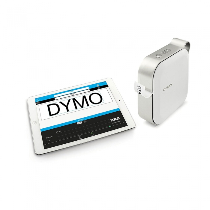 Dymo MobileLabeler Bluetooth Label Printer and Professional Label Tape D1 12mm x 7m, Black/Clear 1978246-big