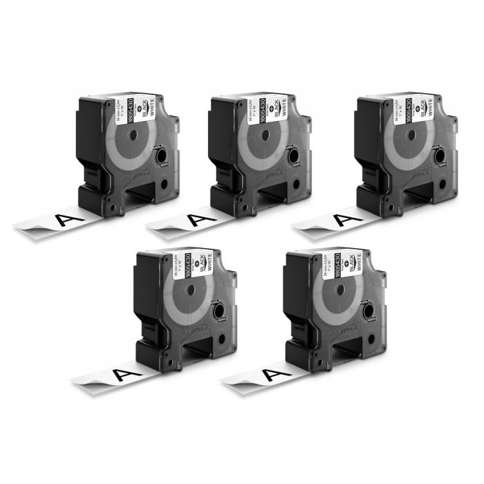 Banda Dymo ID1 DY1805430 vinil 24mm x 5.5m Negru/Alb 1805430-big