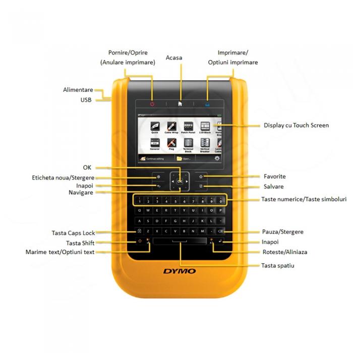 Aparat de etichetat industrial DYMO XTL 500 Kit cu servieta, conectare PC, QWERTY, DY1873489, 1873489-big