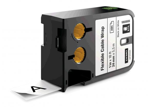 DYMO XTL etichete autoadezive nailon flexibil 24mm x 5.5m negru/alb 1868808-big