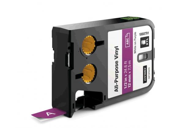 Etichete industriale autoadezive, DYMO XTL, vinil, 12mm x 7m, alb/violet, 1868791-big