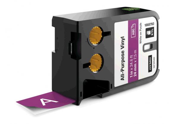 Etichete industriale autoadezive, DYMO XTL, vinil, 24mm x 7m, alb/violet, 1868793-big