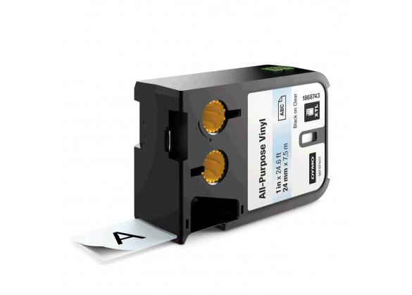 Etichete industriale autoadezive, DYMO XTL, vinil, 24mm x 7m, negru/transparent, 1868743-big