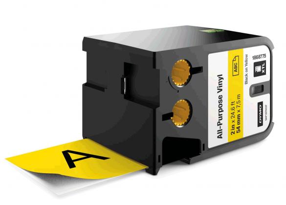 Etichete industriale autoadezive, DYMO XTL, vinil, 54mm x 7m, negru/galben, 1868775-big
