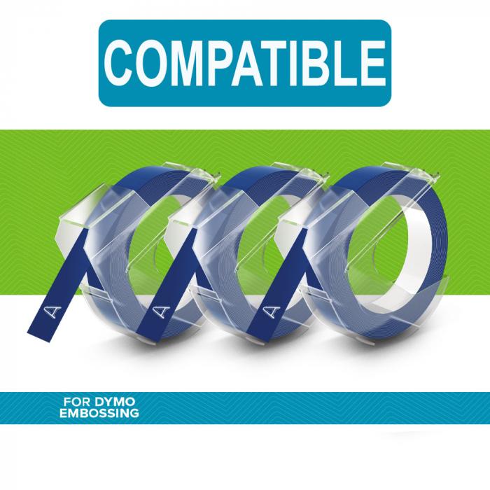 Etichete plastic embosabile Compatibile cu Omega, 9mmx3m, albastru, 3 buc/set-big