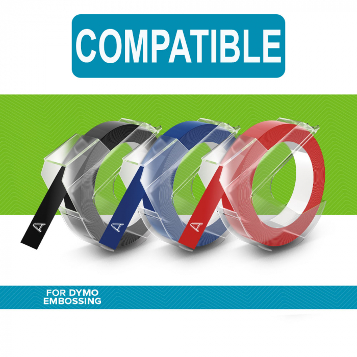 Etichete plastic embosabile Compatibile Omega, 9mmx3m, negru, albastru, rosu 3 buc/set-big