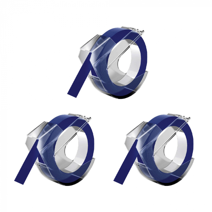 Embossing plastic labels Compatible with Omega, 9mmx3m, blue, 3 pcs/pack-big