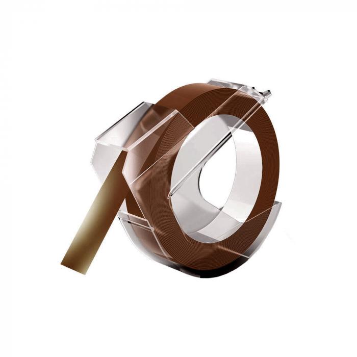 Etichete plastic embosabile compatibile DYMO Omega, 9mmx3m, maro, 520105, 520107, 520108 S0898160-big
