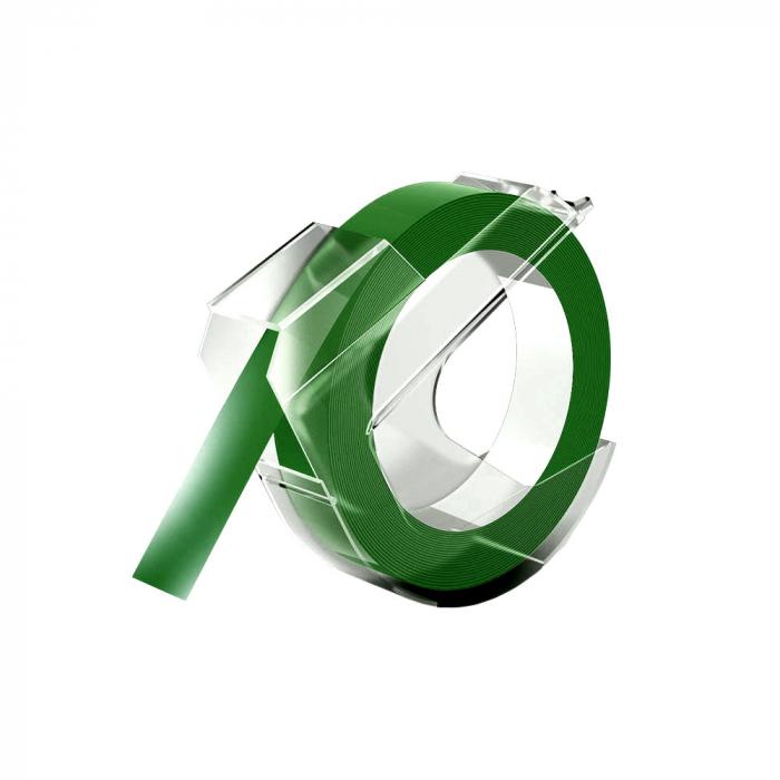 Etichete plastic embosabile compatibile DYMO Omega, 9mmx3m, verde, 520103, 520105-big