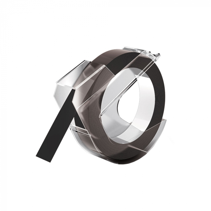 Etichete plastic embosabile compatibile Omega, 9mmx3m, negru, S0898130-C-big