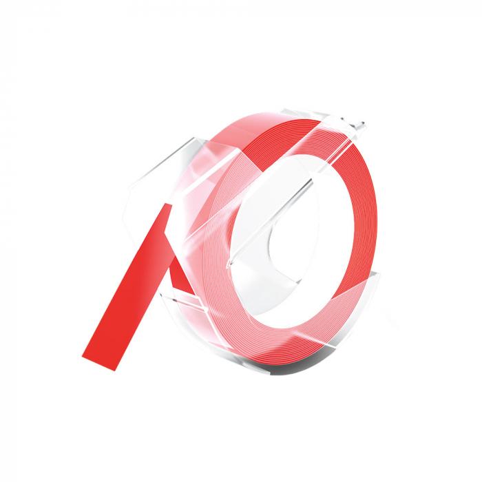 Etichete plastic embosabile compatibile Omega, 9mmx3m, rosu, S0898150-C-big