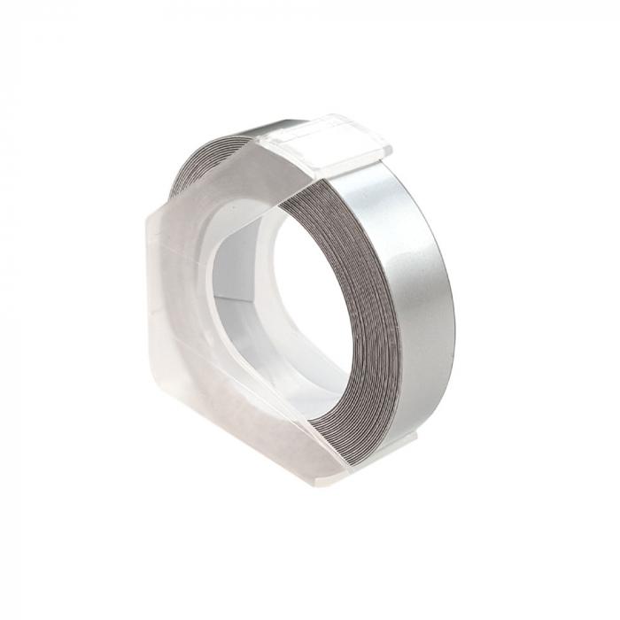 Etichete plastic embosabile compatibile Omega, 9mmx3m, argintii, A520104-big
