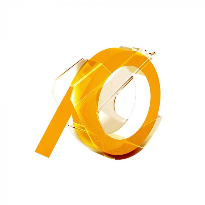 Etichete plastic embosabile compatibile Omega, 9mmx3m, galben, A520108-big