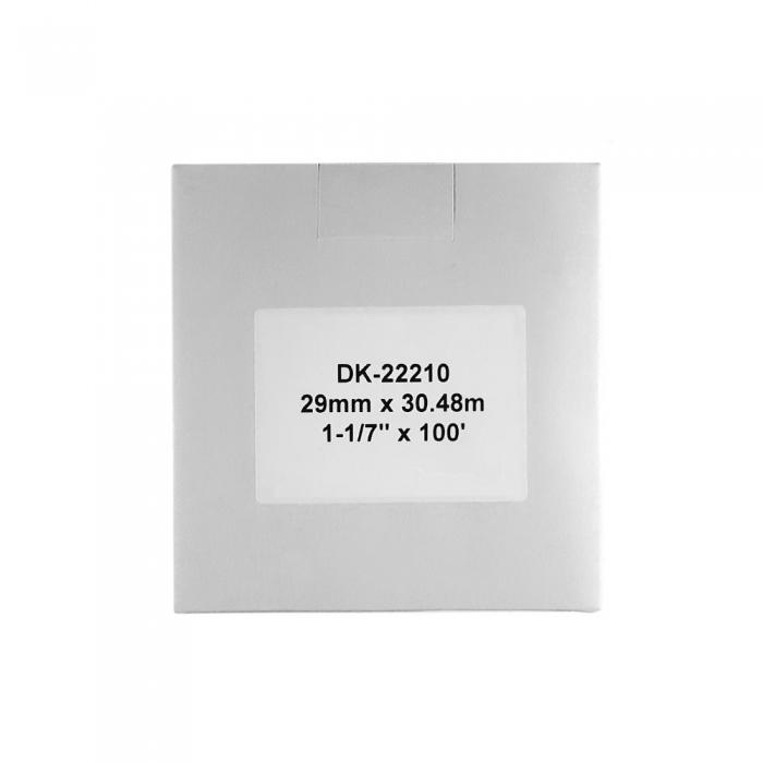 Etichete termice autocolante compatibile, Brother DK-22210, hartie alba, modul continuu, 29mmx30.48m, suport din plastic inclus DK22210-C-big