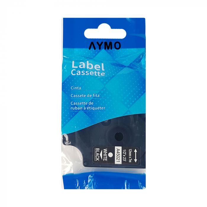 Etichete autocolante compatibile, 12mm x 7m, alb/negru 45021 S0720610-C-big