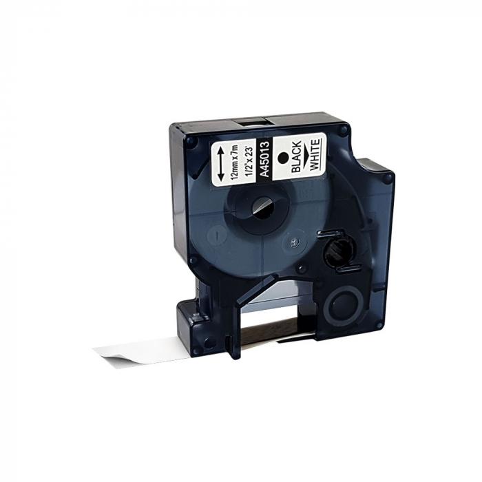 Etichete autocolante compatibile, 12mm x 7m, negru/alb, 45013 S0720530-C-big