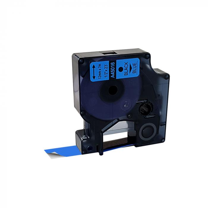 Etichete autocolante compatibile, 12mm x 7m, negru/albastru, 45016 S0720560-C-big