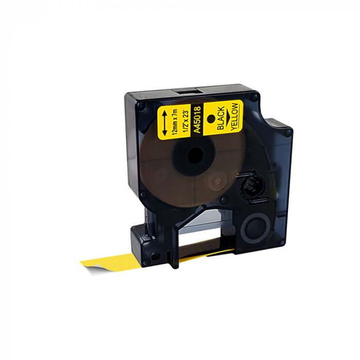 Etichete autocolante compatibile, 12mm x 7m, negru/galben, 45018 S0720580-C-big