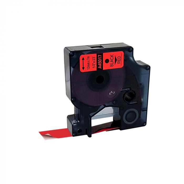 Etichete autocolante compatibile, 12mm x 7m, negru/rosu 45017 S0720570-C-big