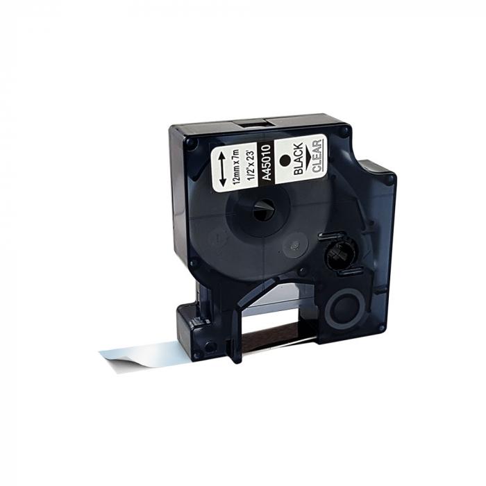 Etichete autocolante compatibile, 12mm x 7m, negru/transparent, 45010 S0720500-C-big