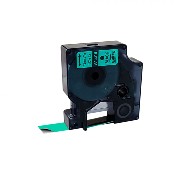 Etichete autocolante compatibile, 12mm x 7m, negru/verde 45019 S0720590-C-big
