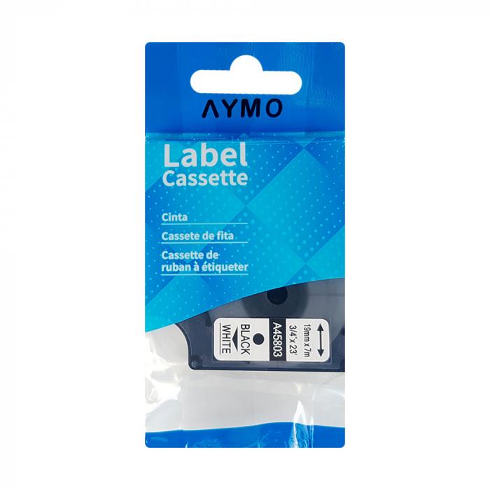 Etichete autocolante compatibile, 19mm x 7m, negru/alb, 45803 S0720830-C-big