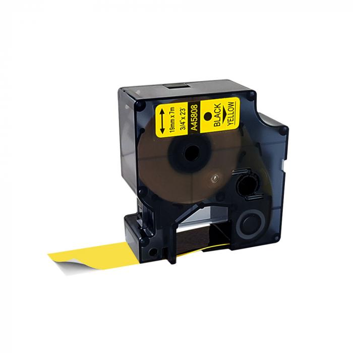 Etichete autocolante compatibile, 19mm x 7m, negru/galben, 45808 S0720880-C-big