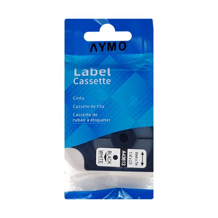 Etichete autocolante compatibile, 6mm x 7m, negru/alb, 43613-big