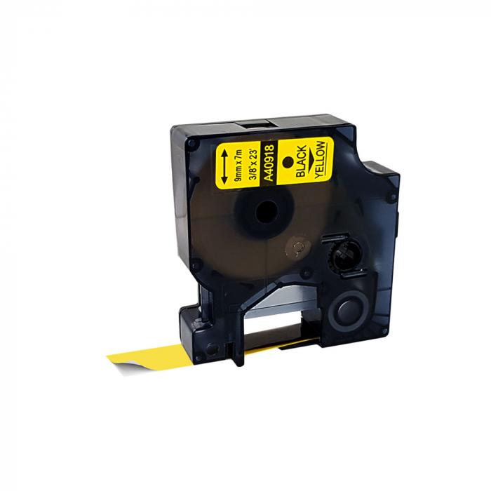 Etichete autocolante compatibile, 9mm x 7m, negru/galben, 40918 S0720730-C S0720790-C-big