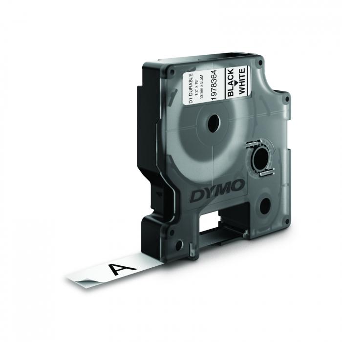 Etichete autocolante industriale, DYMO LabelManager Durable, 12mm x 5.5m, negru/alb, 1978364-big