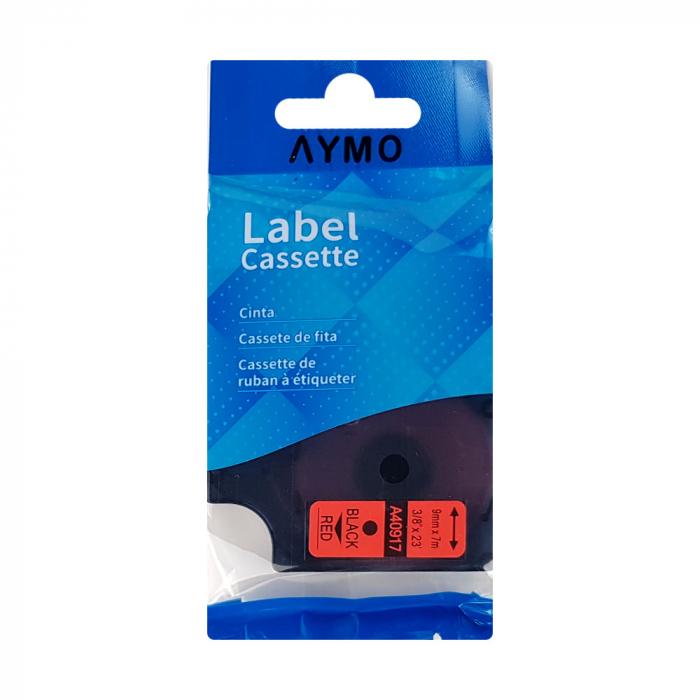 Etichete compatibile DYMO LabelManager 9mm x 7m, negru/rosu 40917 DY40917-big