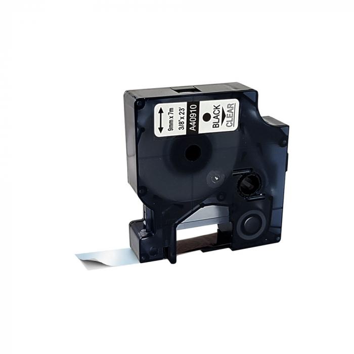 Etichete compatibile DYMO LabelManager 9mm x 7m, negru/transparent 40910 DY40910-big