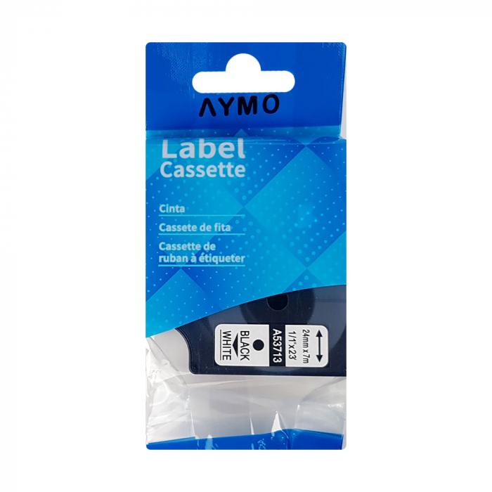Etichete compatibile DYMO LabelManager D1 24mm x 7m, negru/alb, 53713 DY53713 S0720930-big