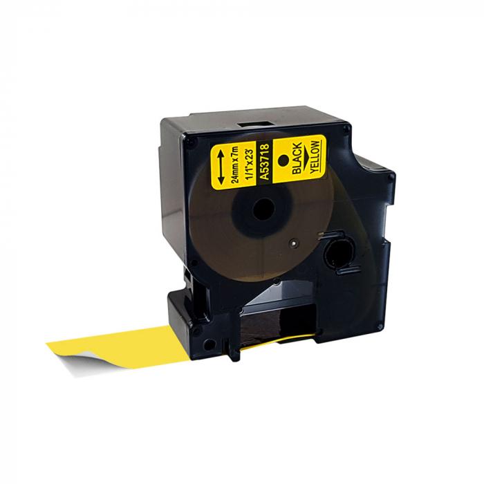 Etichete compatibile DYMO LabelManager D1 24mm x 7m, negru/galben, 53718 DY53718 S0720980-big