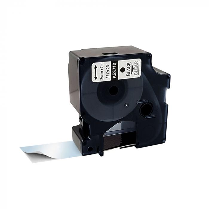 Etichete compatibile DYMO LabelManager D1 24mm x 7m, negru/transparent, 53713 DY53713 S0720920-big