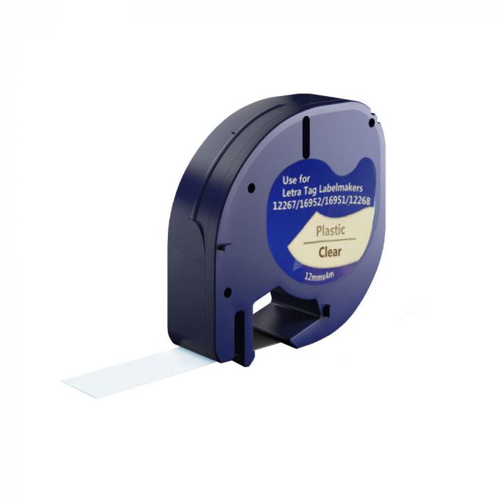 Etichete compatibile DYMO LetraTag 12mmx4m, plastic, transparente, 12267 DYA12267-big