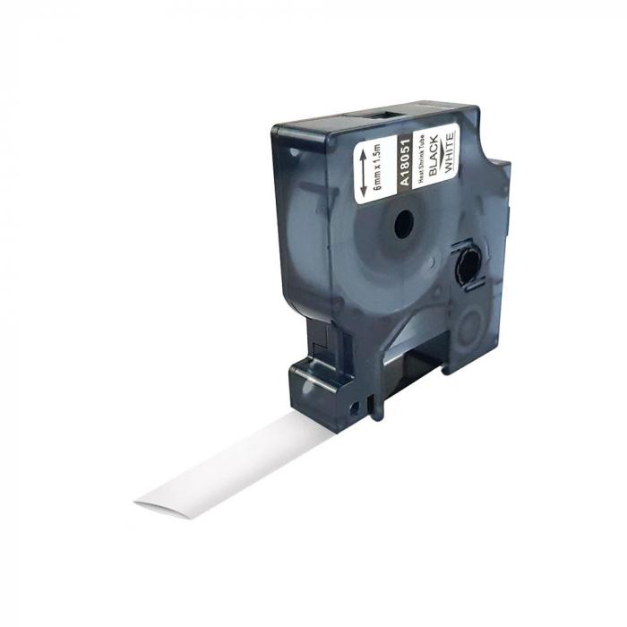 Etichete compatibile tub termocontractibil, DYMO ID1, 6mm x 1.5m, negru/alb, 18051-big