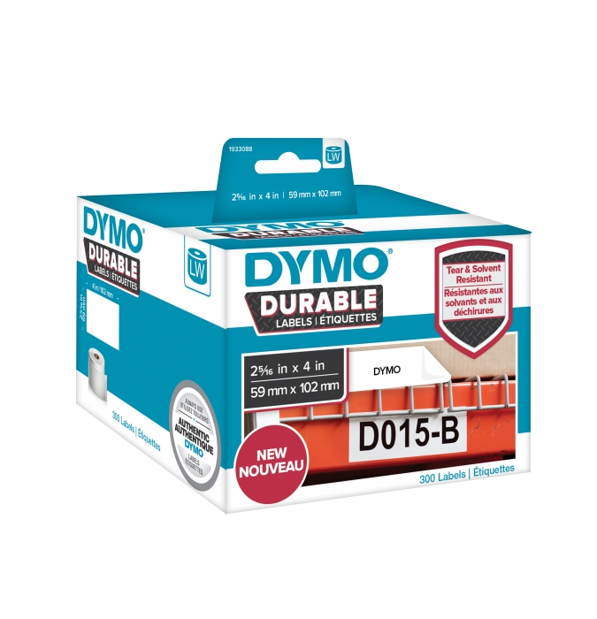 DYMO LabelWriter Durable shipping labels, 59mmx102mm, polypropylene white, 1 roll/box, 300 labels/roll, 1933088-big